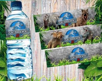 Jurassic world printable personalized water bottle label, digital label, jurassic label, jurassic park, dinosaur party, dino birthday,custom