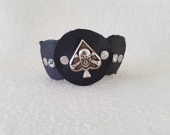 Ace of Spades  Leather Cuff