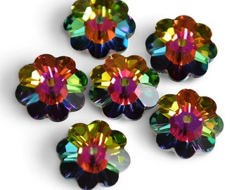 Swarovski Crystal Marguerite Lochrose (Flower) 3700 Vitrail Medium Spacer Beads (Package of 6 Beads) Available in 6mm, 8mm, 10mm