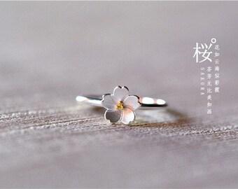 Sakura Rings For Women 925 Sterling Silver Adjustable, Sakura Festival, Cherry Blossom Festival