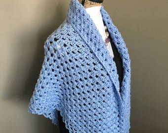 Crochet Periwinkle Blue Shawl with Metallic Thread, Crochet Blue Bridesmaid Shawl, Handmade Mother'sDay Shawl, Blue Crochet Prom Wrap,