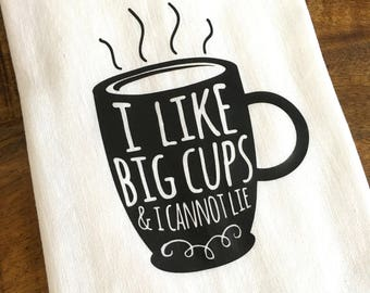 coffee lovers flour sack towel - housewarming - funny kitchen towel - whimsical - dish cloth - tea towel