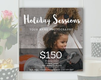 Holiday Mini Session Template - Booking Ad, Newsletter Template, Winter Minis, Marketing Board Template - Photoshop PSD *INSTANT DOWNLOAD*