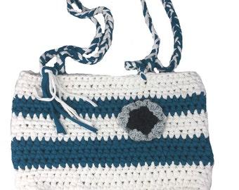 Crochet shoulder bag, shoulder bag white, crochet, crochet bag, white, turquoise flower