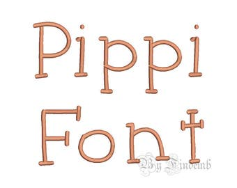 Pippi Embroidery Font Designs 5 size Instant Download