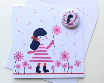 Girl with Flower Birthday Card