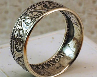 "INDIA 1 RUPEE 1917 ""SILVER "" Coin Ring"