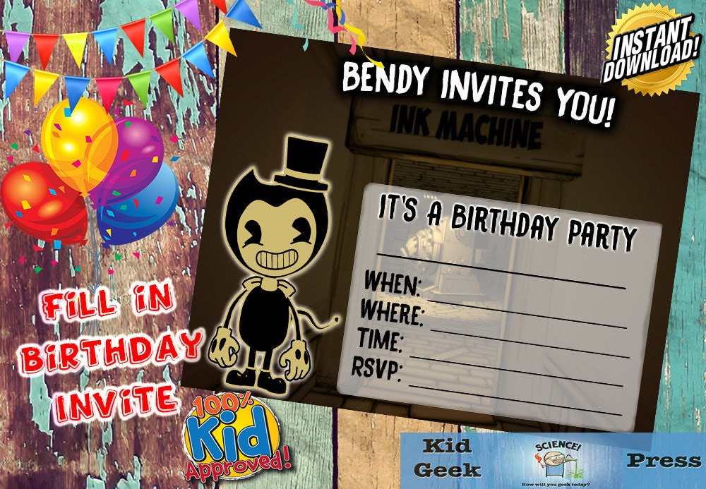 Bendy and the Ink Machine Fill In Birthday Party Invite