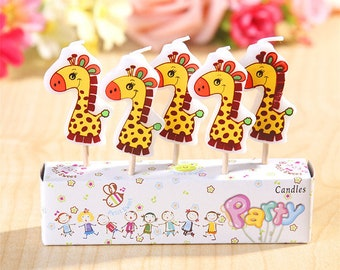 Cute Giraffe Candles 5pcs|Animal candles|Centerpiece|Cake toppers|Zoo decoration|Prince boy 1st first birthday|Baby shower|Kid celebration
