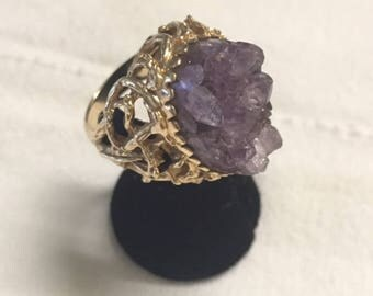 Vintage 14k gold with 8.5 carat amethyst gemstone size 7 1/2
