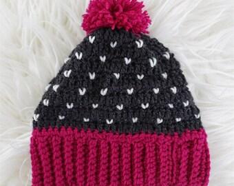 heart beanie, children's hat, crochet hat, baby beanie, heart beanie, gift for children, Baby Photo Prop, baby girl, pink, hearts, navy