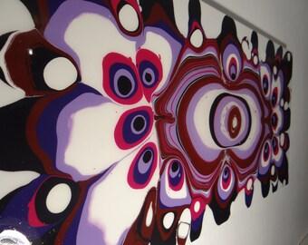 Table acrylic fluid painting resin epoxy purple black white size 100cmx50cm modern art PsiveArt