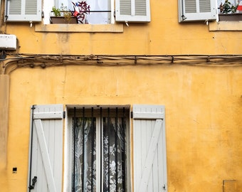 Provence Photography, French Decor, Yellow, Design, French Window, Architecture, Streets of Provence, Provence Wall Art, French Prints