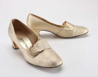 Enna Jetticks Vintage Gold Tone Pumps | Size 7 | Gold Pumps | Vintage Shoes | Vintage Pumps | Metallic Shoes | Vintage Heels