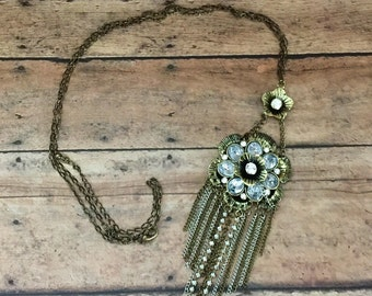 Rustic Flower Chain Necklace
