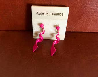 Pink spiral dangle earrings