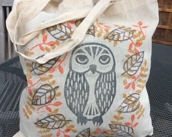 Owl tote bag - hand printed