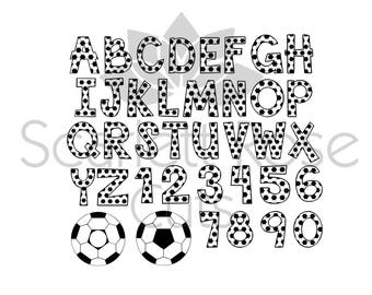 Soccer font Letters and Numbers sports balls monogram SVG cut file for silhouette cameo and cricut