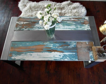 Handmade Reclaimed Wood & Steel Coffee Table shabby chic Vintage Rustic Industrial  loft end table unique brown white silver