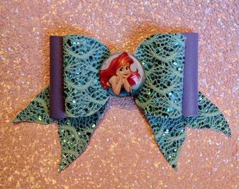 MADE TO ORDER // Little Mermaid Glitter Bow // Disney Bow // Large Glitter Bow // Hair Bows // Girls Bows // Hair Accessory // Disney Ariel