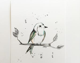 Illustration, watercolor, bird illustrations, painting bird, displays watercolor, minimalist, home decoration