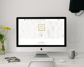 Website for wedding in the marble & gold look. with Photo Gallery | Invitation | for mobile devices | Wedding homepage
