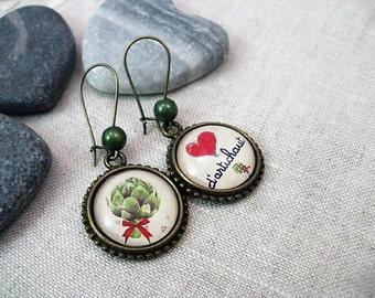 HEART of ARTICHOKE glass cabochon earrings