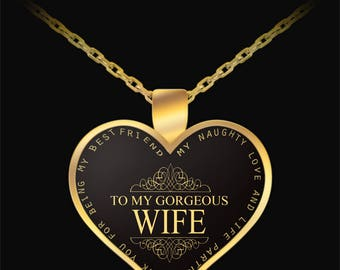 Wife necklace - To My Gorgeous Wife Gold Heart Necklace - gift idea