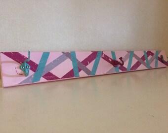 Pink, Purple, and Aqua Destressed Coat Rack / Necklace Holder