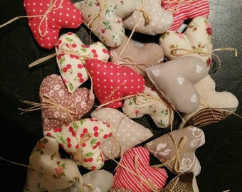 Set of hearts,20 fabric hearts, heart ornaments, heart decoration, 20 cuoricini di tessuto, ornamento cuori, cuori imbottiti
