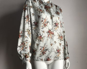 Mr. K L Flower Print Floral Puffy Sleeves Synthetic Polyester Blouse