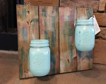 Wooden plaque with 2 canning jars
