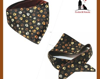 """Dog bandana """"Brown Paws"""", neck scarf for dogs"""