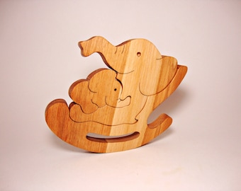 Wooden Toys For Kids Elephant Toy Wood Puzzle Birthday Gift Toys for Baby Natural Animals Learning Toy Handmade