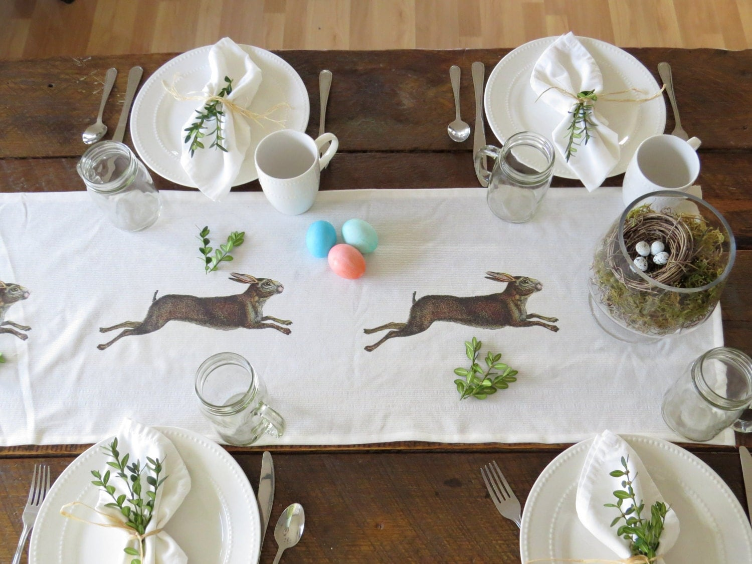 table runner easter table runner table cloth bunny decor. Black Bedroom Furniture Sets. Home Design Ideas