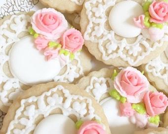 Freshly Baked Sugar Cookies, A Dozen Mini Cookies, Roses and Lace Cookies, Wedding Cookies, Bridal Shower Cookies