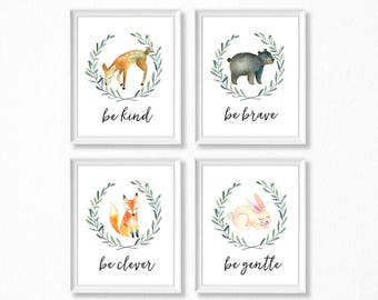 PRINTABLE, Woodland Nursery Art, Woodland Animals Nursery Prints, INSTANT DOWNLOAD, Deer Bear Fox Bunny Watercolor Woodland Set of 4