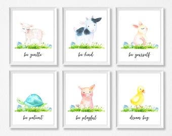 PRINTABLE Farm Animal Nursery Watercolor Art Print Set, Cow Pig Lamb Duck Turtle Bunny, Farm Animal Prints, Farm Animal Nursery, Farm Prints