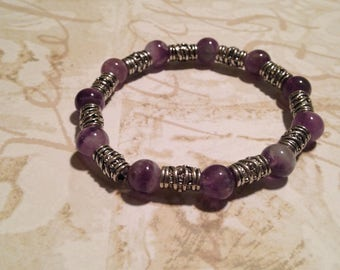 Purple amethyst beaded stretchy bracelet