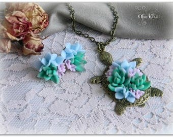 SALE!!! Set of polymer clay, turtle with succulents. Handmade decorations, marine themes with flowers.Mothers Day, St Patricks Day