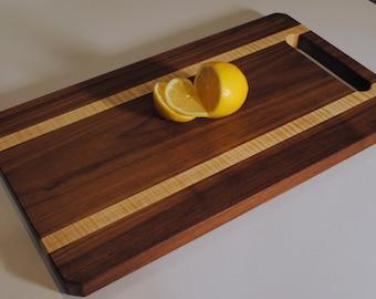 Large Serving Platter Charcuterie Board--Walnut & Curly Maple