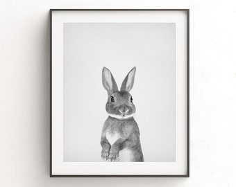 Rabbit print wall art black and white photo bunny print digital download animal nursery decor printable art home decor animal wall art