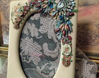 """Jeweled Photo Frame, Multi Colored Vintage """"Picture Frame"""""""