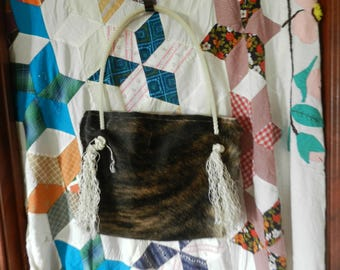 Brazilian Steer Hide Purse With Rope Handle