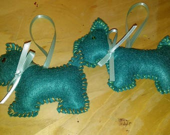 Teal scotty dog ornament