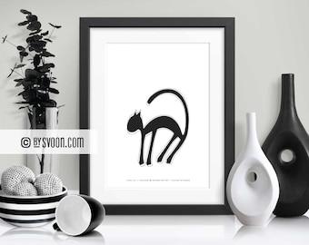 Stray Cat Print, Wall Art Printable, Animal Poster, Black & White, Cat, Wall Decor, Kids, Nursery, Home Decor, Wall Art, Digital Download