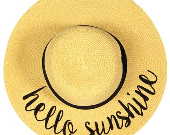 Hello Sunshine Floppy Hats Embroidered