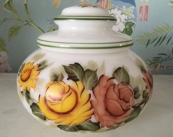 Antique Hand Painted Milk Glass Container with Lid