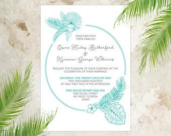Wedding Invitation Template Word Nautical Beach Palm Tree - Harmony