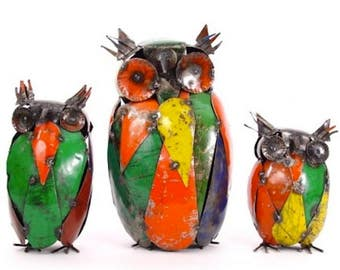 Recycled Metal Owls